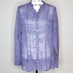 Sheer Floral Blouse with Long Sleeves by GAP